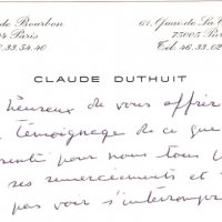 CARTE DE CLAUDE DUTHUIT